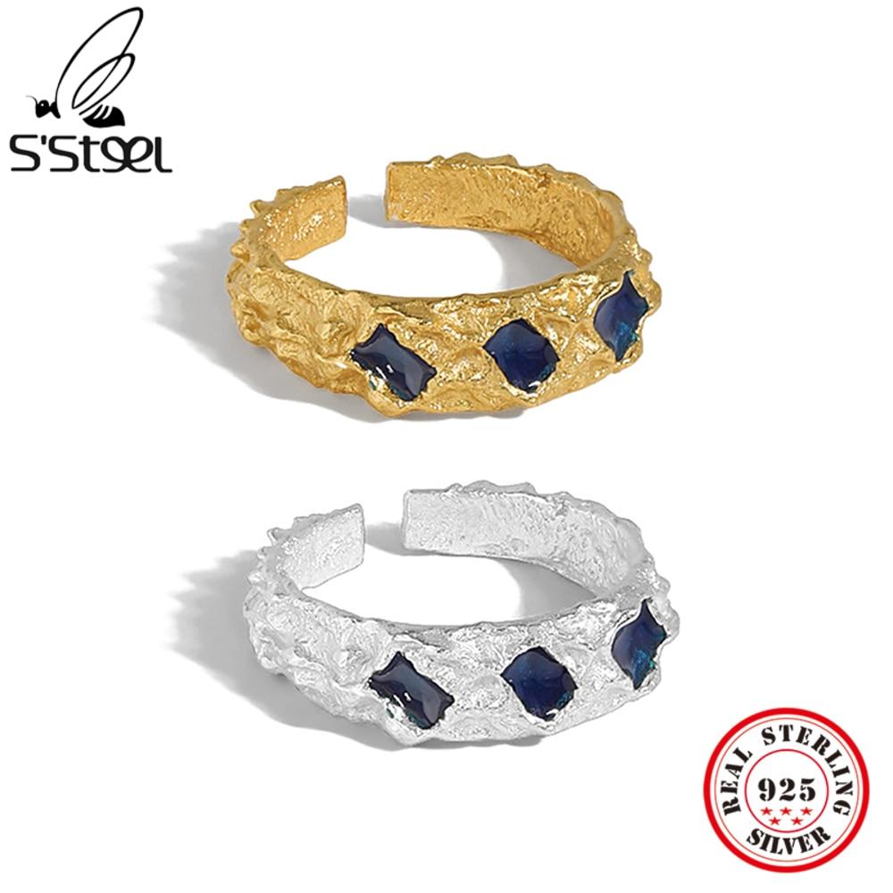 S'STEEL Designer Rings Sterling Silver 925 For Women Trendy Minimalist Steampunk Gothic Adjustable R