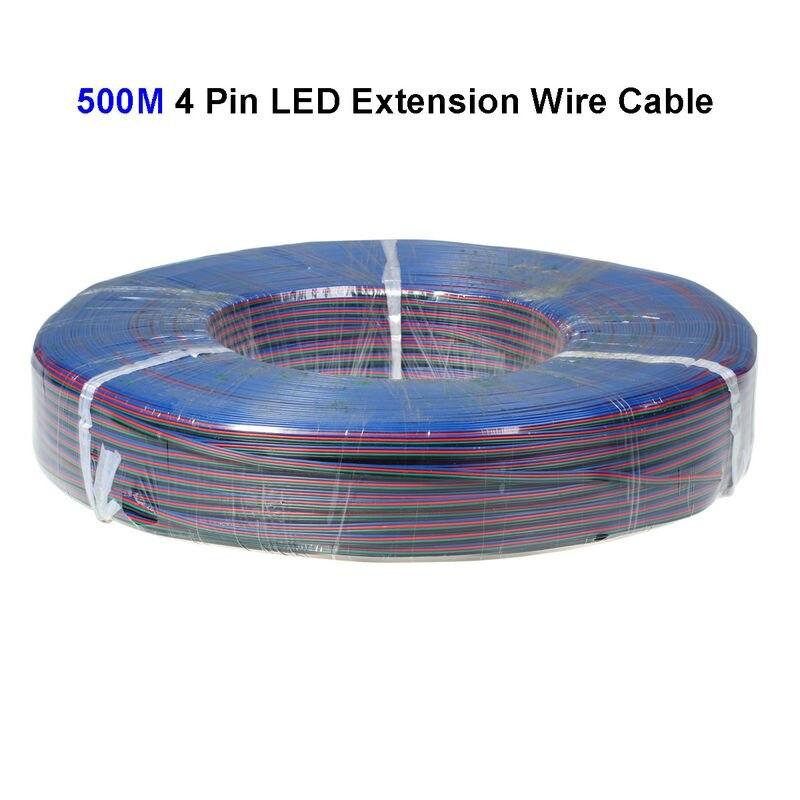 سلك تمديد 500 متر 22AWG 4-Pin LED ، سلك موصل شريط إضاءة SMD 3528 5050 RGB LED
