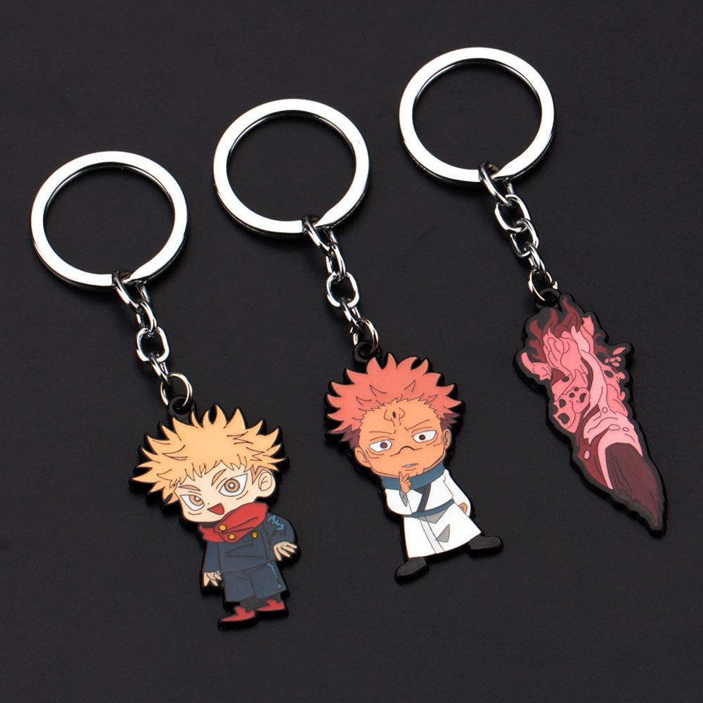 Jujutsu Kaisen Key Chain Anime Itadori Yuji Black Keychain Metal Pendant Hot New Products Keyring