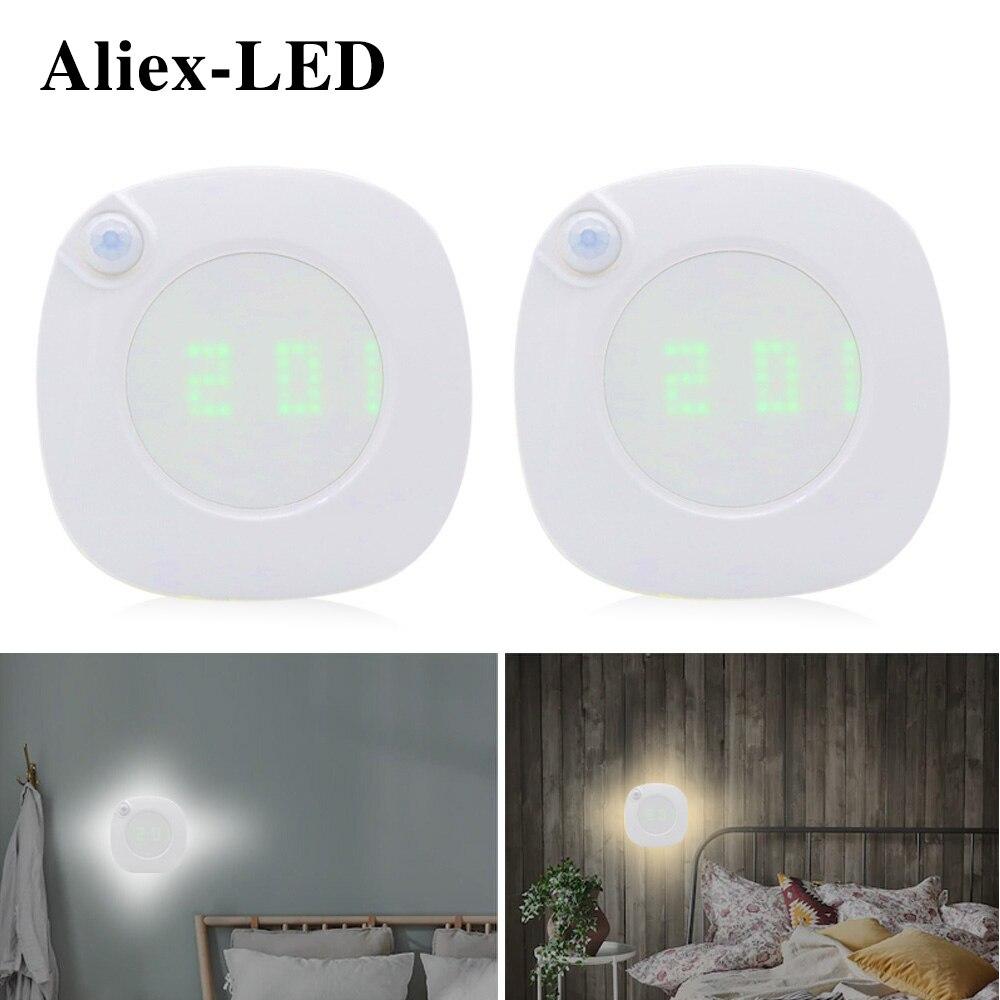 Светодиодный ночсветильник для спальни, декоративная лампа с датчиком движения, с отображением времени, подходит для кабинета, кабинета, ту...