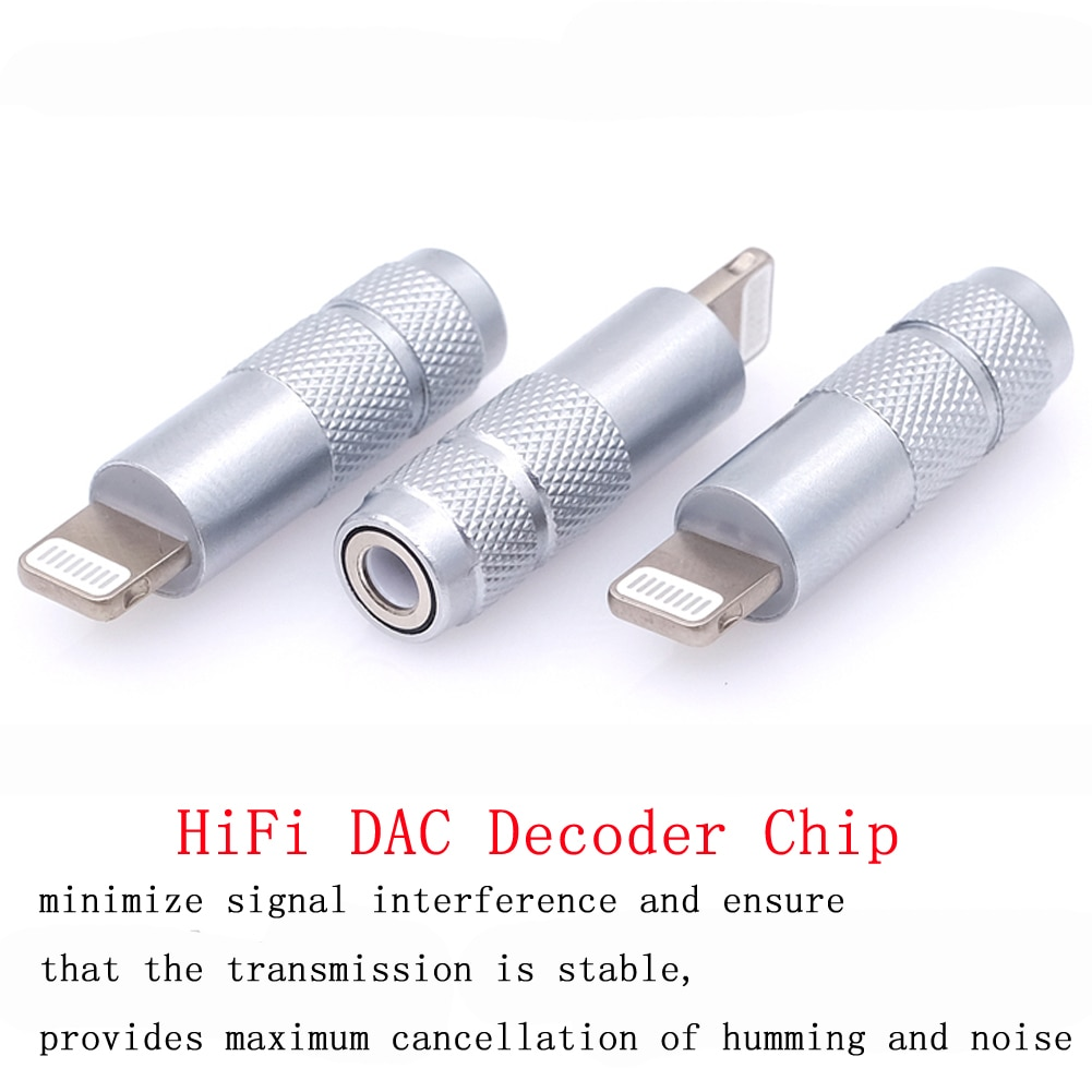 Haldane one pcs HiFi DAC Decoder Chip Adapter for iphone lightning Male to 3.5mm Female Connector Jack for Earphone Amplifier enlarge