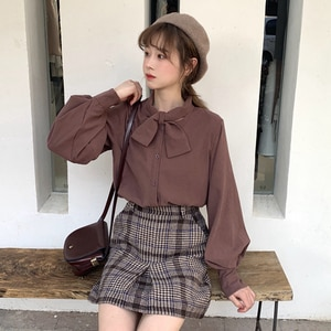 Girls Puff sleeve solid color shirt Women Bow-tie neck blouse office lady work shirt