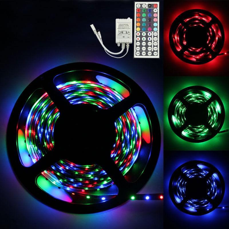 45# 5M RGB Led SMD Flexible Light Strip Lamp+44 key IR Remote Controller  Ribbon Purple Flexible Tape lamp for DJ Fluorescence