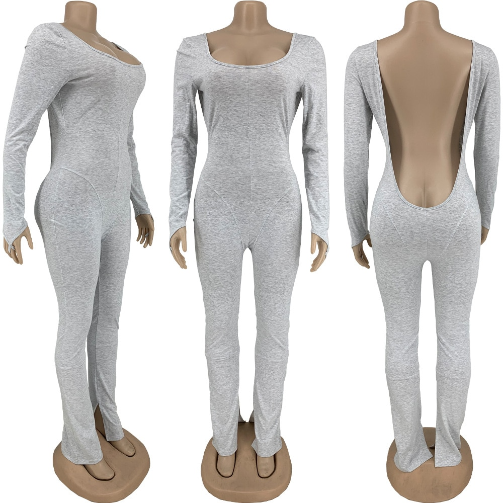 Bulk Lots Wholesale Items Solid Fitness Rompers Womens Jumpsuit Early Autumn Full Sleeve Open Back Skinny Bell Bottom Bodysuits enlarge