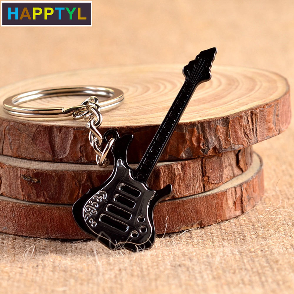 HAPPTYL 1Pcs Creative Alloy Friendship Keychain Guitar Pendant Car Bag Key Keychain For Men Women Kids Jewelry Keyring
