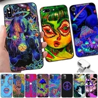 fhnblj hippy hippie psychedelic art phone case for iphone 8 7 6 6s plus x 5s se 2020 xr 11 12 pro xs max