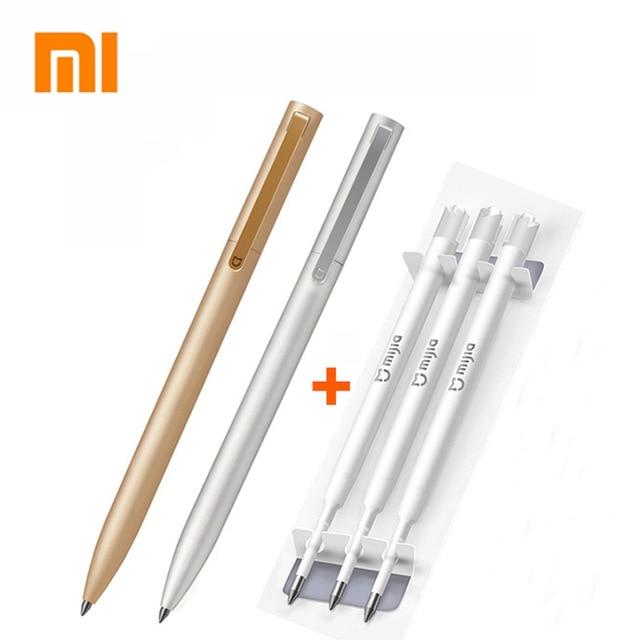 Original Xiaomi mi jia signo de Metal plumas PREMEC recambio fluido de Suiza 0,5mm firma plumas mi Alu mi num recarga de plumas tinta azul y negra