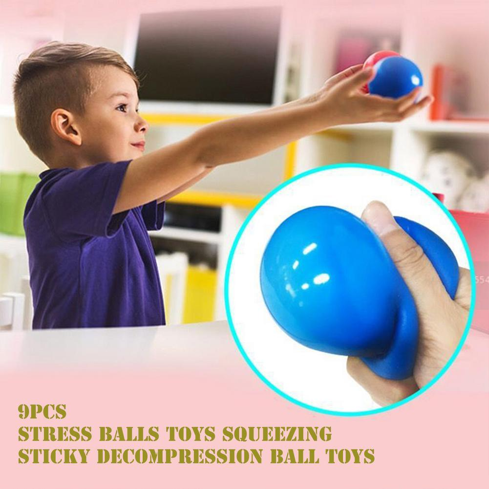 9PCS Non-toxic Color Sensory Toy Office Stress Ball Pressure Toy Decompression Fidget Toy Relief Pressure Ball Gift enlarge