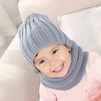 jtvovo 2021 new multicolor hat and scarf for children solid acrylic kids hat with a scarf knit girls boy hats scarves set winter
