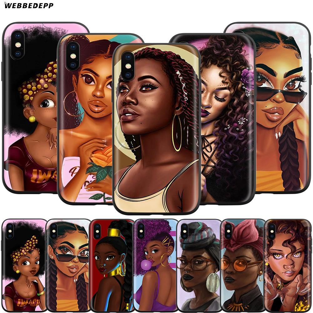 Webbedepp afro meninas arte caso para apple iphone 11 pro xs max xr x 8 7 6s plus 5 5S se