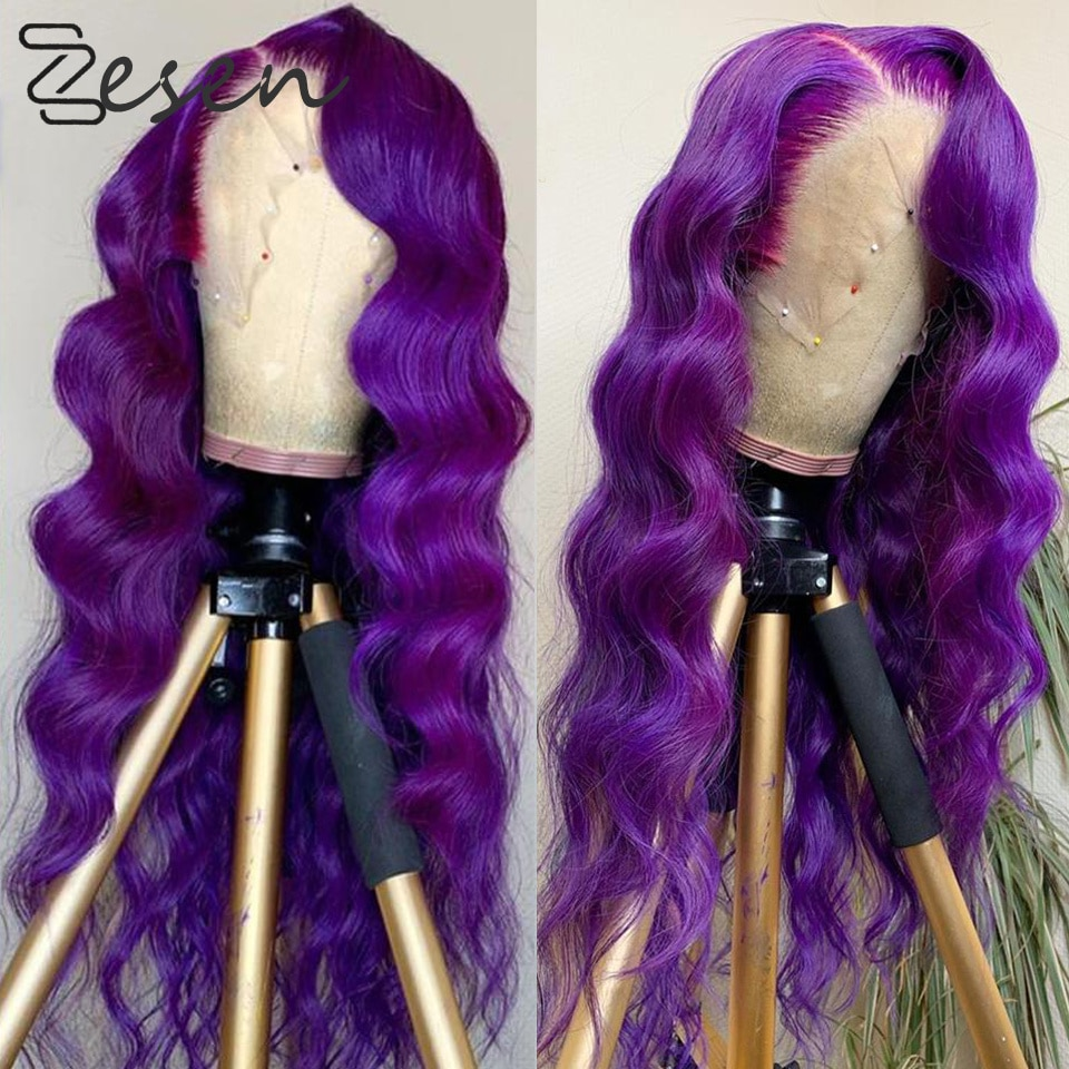 Zesen Body Wave Synthetic V Lace Front Wig With Natural Hairline 180% Density Heat Resistant Body Wave Wigs Purple Color