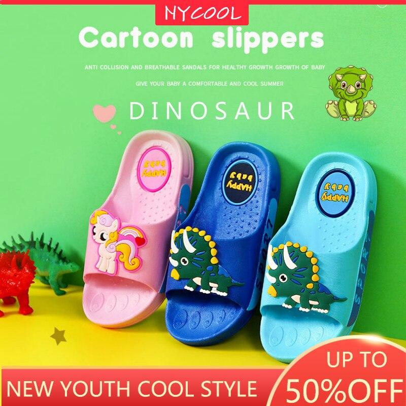 NYCOOL bonitos zapatos para niños con dibujos animados, zapatos de playa de dinosaurios para chicos, zapatos de poni para chicas, calzado infantil para pupila al aire libre, zapatillas antideslizantes para casa