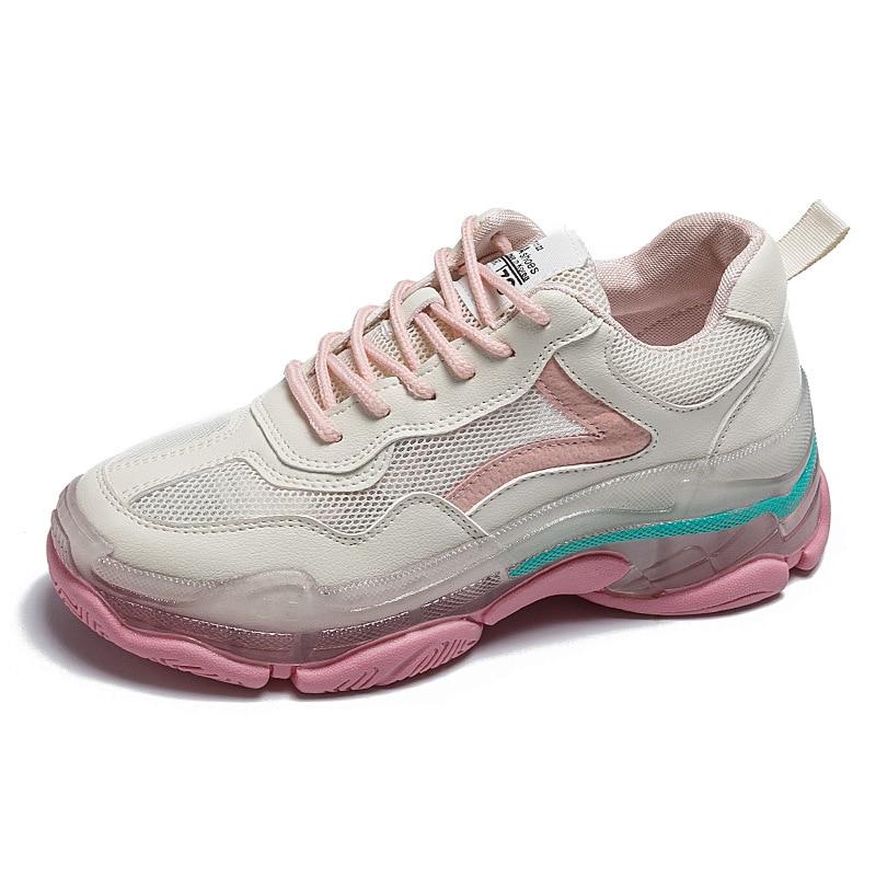 Estrela super fogo pai sapatos primavera e verão nova plataforma geléia respirável malha sapatos all-match plataforma tênis tenis feminino