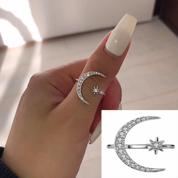 Delysia King Adjustable Opening Star and Moon Ring Trendy Crystal Jewellery for Women