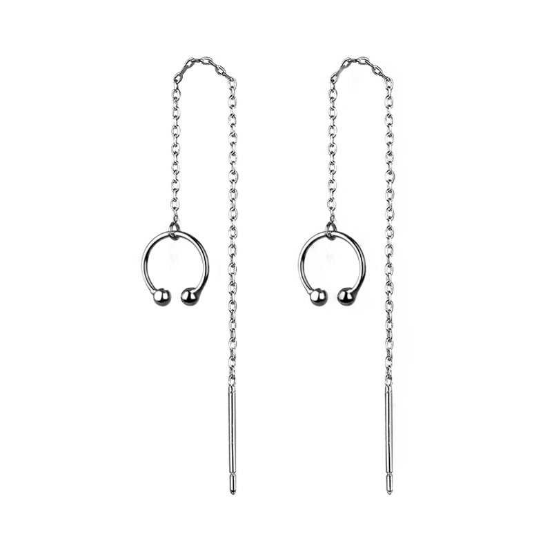 Simple Silver Mini Round Beads Ball Earring 925 Geometric Prevent Allergy Earring Ear Clip Bone For Women Fashion Earrings  - buy with discount