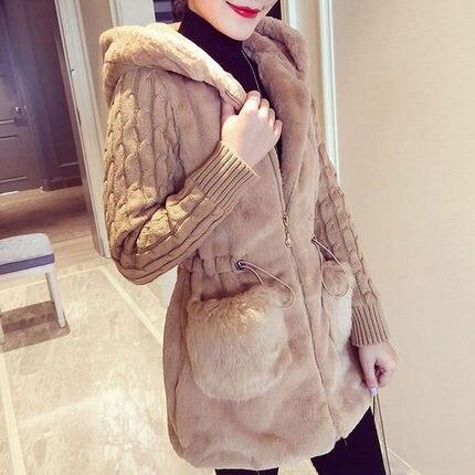 Женская утепленная куртка с капюшоном, Классическая Модная вязаная утепленная куртка из искусственного меха на плюшевой подкладке, Осень-з... glissade куртка утепленная женская glissade размер 44