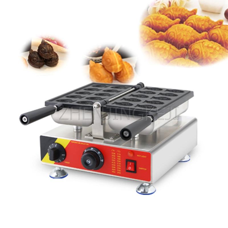 آلة حرق السناب 220 فولت على شكل سمكة تجارية صغيرة على سطح المكتب مائلة غير لاصقة معدات متجر الوجبات الخفيفة للذواقة صنع فطيرة