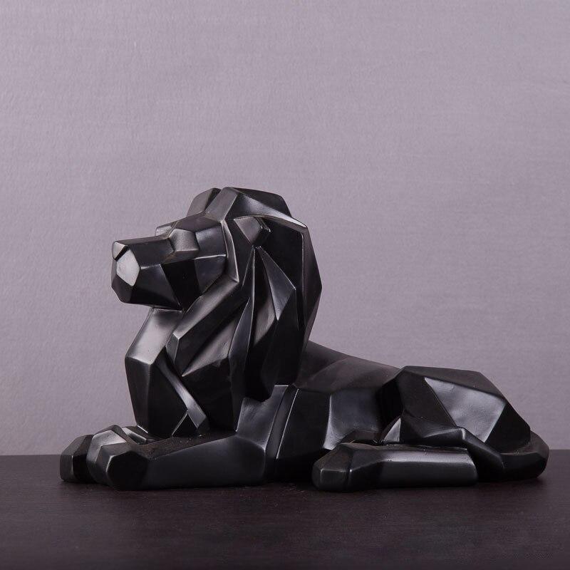Escultura de León de Origami geométrico, estatua de depredador de vida salvaje africana de resina/manualidades de León Feng Shui, decoraciones para el hogar