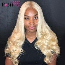 8 - 28 inch 613 Honig Blonde Farbe Spitze Front Menschliches Haar Perücke Remy Brasilianische Körper Welle Haar 1B 613 ombre Spitze Perücke für Schwarze Frauen