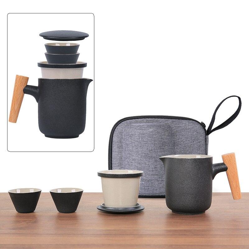 النمط الياباني وعاء واحد كوبين طقم شاي السفر السيراميك كوب سريع المحمولة حقيبة التخزين في الهواء الطلق المنزلية مجموعة براريد للشاي