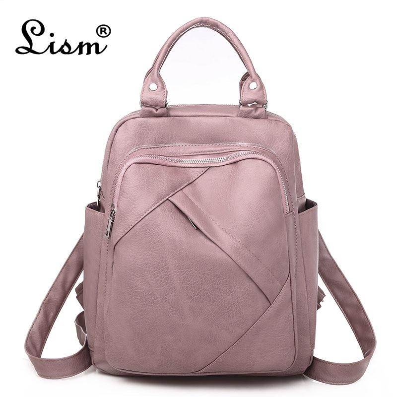 Mochila feminina 2020 primavera nova moda selvagem qualidade de couro macio lazer viagem grande capacidade cor-de-rosa bolsa