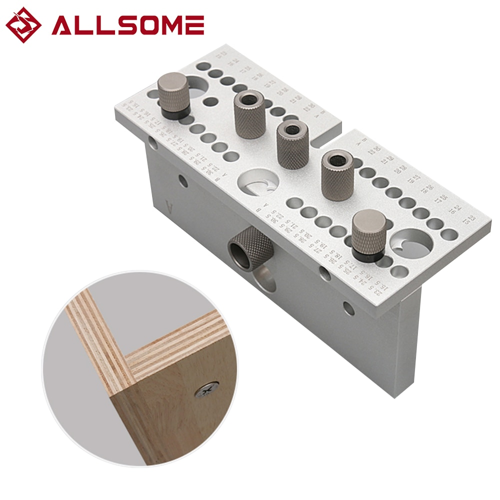 ALLSOME 3 In1 Dowelling Jig Kit 7/8/10/15mm Wood Adjustable Drilling Guide Tenon Puncher Locator DIY Woodworking Tool