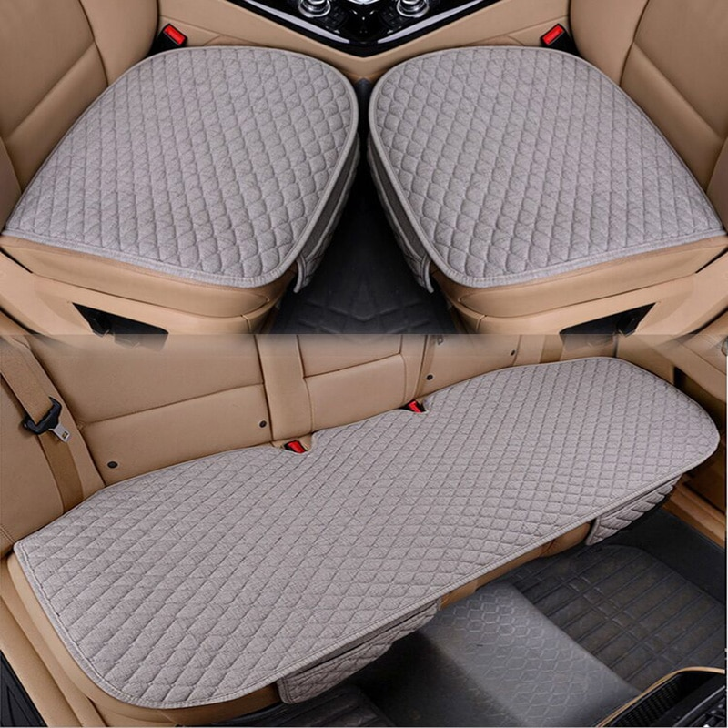 Flax Car Seat Cover Four Seasons Front Rear Linen Fabric Cushion Breathable Protector Mat Pad Auto a