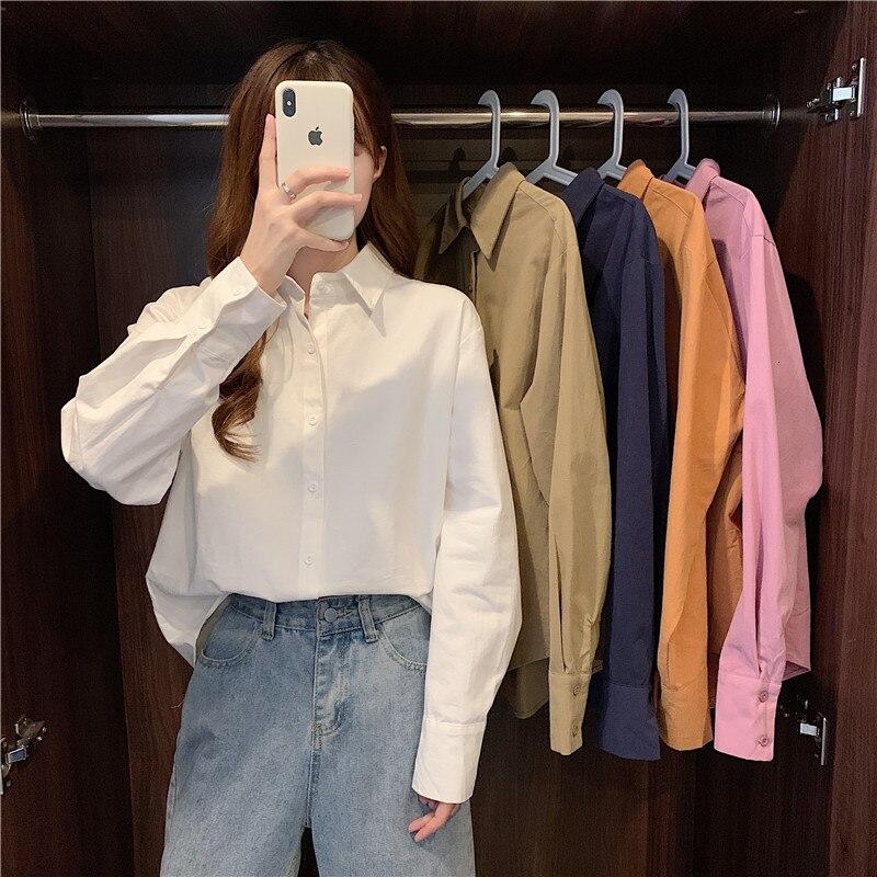 Офисные женские блузки, рубашки, однотонные однобортные Женские Рубашки, Топы, женские блузки, женские блузки