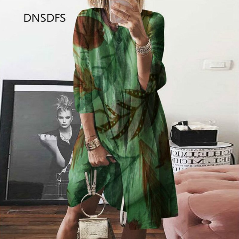 S-5XL Plus Size Summer Autumn Women Dress Retro Floral Butterfly Leaf Printed Dress Casual Loose A Line Midi Dresses Oversize
