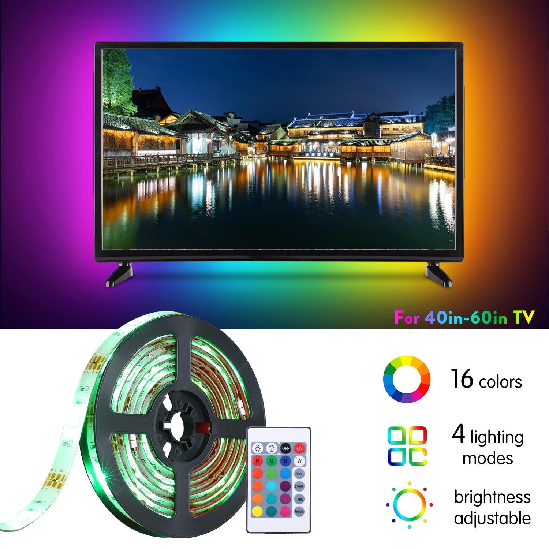 4 modos 2m USB TV LED retroiluminación tira luces para 40-60in TV WiFi o Control IR tiras regulables luz 16 RGBW cinta led tira