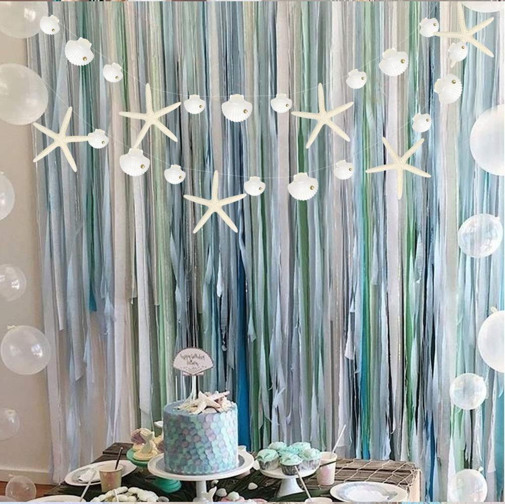 Guirnaldas de conchas de estrellas de mar de verano, topos de burbujas de sueño colgantes bajo el mar, sirena temática de 1er cumpleaños, decoración de ducha de bebé