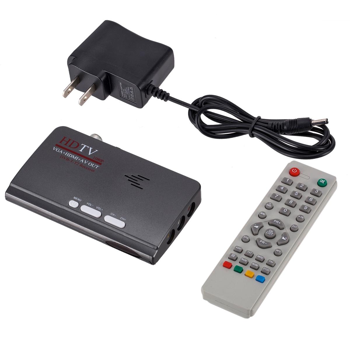 DVB-T DVB-T2 receptor/sintonizador de TV DVB T/T2 TV Box VGA AV CVBS 1080P HDMI digital receptor de satélite HD con Control remoto