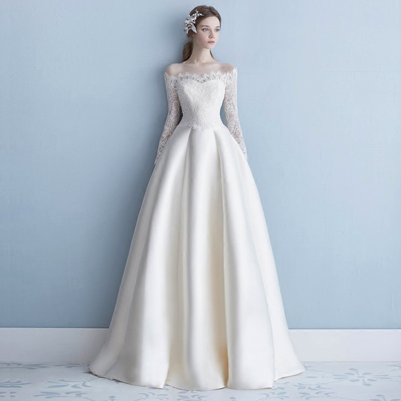 LAMYA-فستان زفاف ساتان ، طول الأرض ، خط A ، أنيق ، على الطراز الكوري