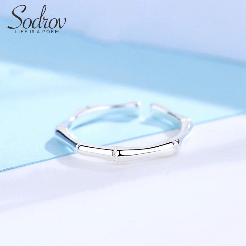 Bones Rings Jewelry 925 Sterling Silver Bamboo Rings For Women Adjustable 925 Silver Ring