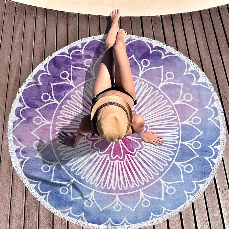 منشفة شاطئ مستديرة ماندالا الكتابة على الجدران زهرة تزهر سر بطانية كبيرة سميكة ماصة 59 بوصة اليوغا حصيرة مع شرابات