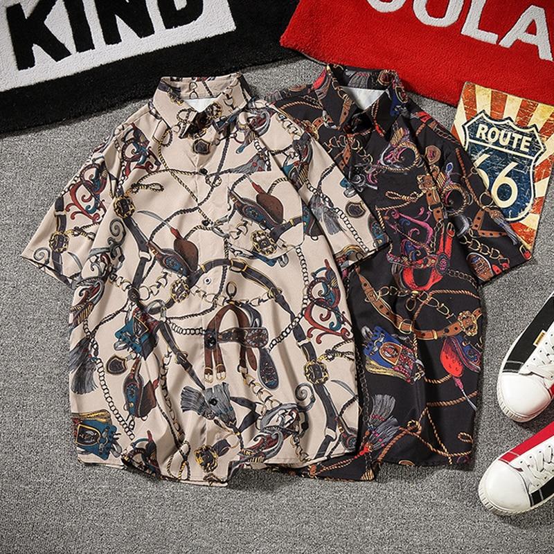 Retr, camisas de Vestir Vintage para hombres, Camisa con estampado de cadena, Camisa Harajuku para hombres, blusa extragrande, manga corta, Camisa holgada japonesa para Hombre 5XL