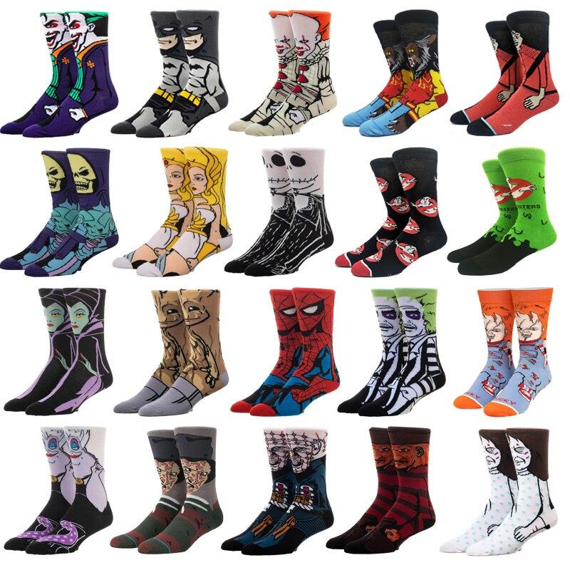 Мужские модные Носки, забавные Носки в стиле аниме, Носки в стиле хип-хоп с персонажем аниме, Модные Носки с рисунком, высококачественные Носки с вышитым рисунком