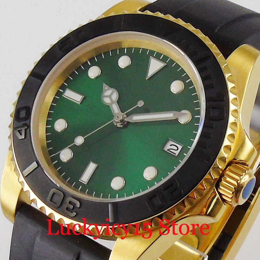 Luxury Japan 24 Jewels NH35 Mechanical Men Watch SUNBURST Sterile Green Dial Rubber Strap Gold Coated Case
