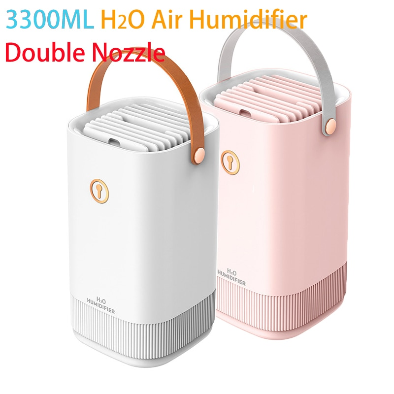 USB Air Humidifier Double Nozzle 3300ML Diffuser USB Aroma Diffuser With Coloful LED Light Ultrasonic Aromatherapy Humidificador