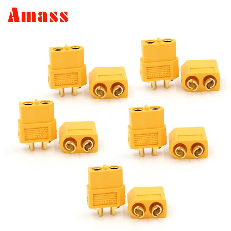 5 Pairs/10 Pairs  Amass XT60 Plug Male and Female 3.5mm Golden Plated Bullet Connector for RC ESC Battery 10 pairs t plug male