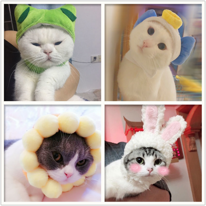 Cat Cap Costume Warm Rabbit Hat Funny Pet Dog New Year Party Christmas Cosplay Accessories For Cat Dog Photo Props Headwear