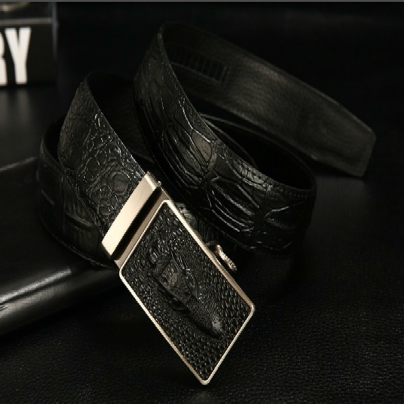 Brand Fashion Automatic Buckle Black Genuine Leather robin Belt Men's Belts high quality Cow Leather Belts for Men 3.5cm Width