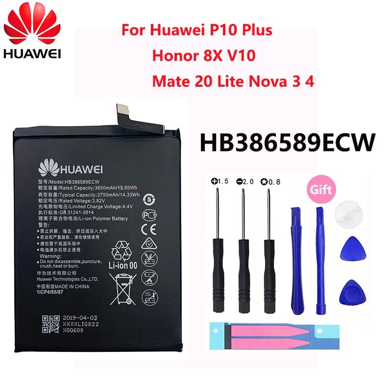 100% original hua wei hb386589ecw para huawei honra 8x 3650mah vista 10 companheiro 20 lite p10 plus p10plus nova 3 4 bateria batteria