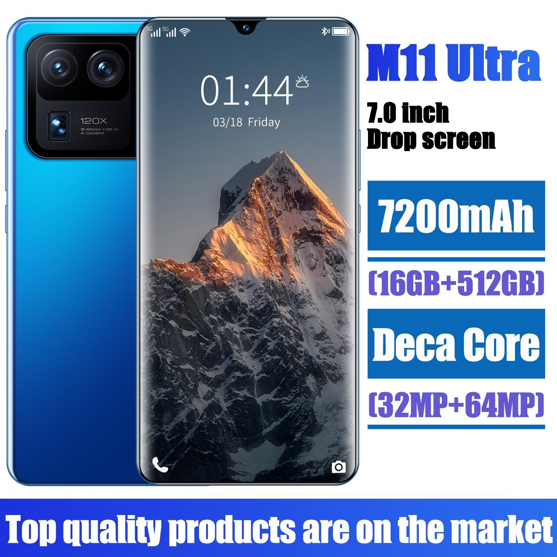 XIAOM11 Ultra 16GB RAM 512GB ROM 32+64MP Deca Core 7.0 Inch Smart Phone 7200mAh MTK6893 Fingerprint ID Dual SIM+SD Mobilephones