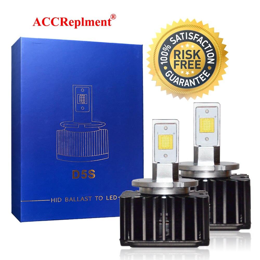 Kit de conversión de Bombillas de faros LED brillante D5S 7600LM 90 W, Chips LED CSP 6000K blanco para coche camión Luz de haz Alto y Bajo