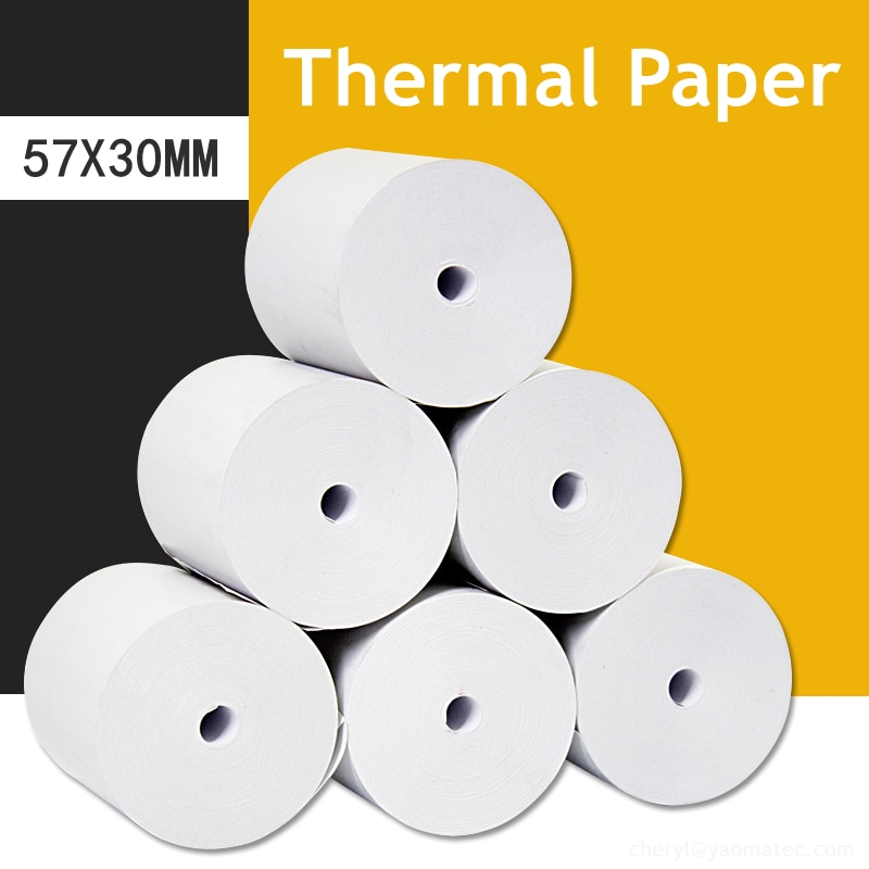 57x30mm 10/20/30/40/50 Rolls Receipt Thermal Paper Printing Label Roll for Mobile POS Photo Printer Office Stationery