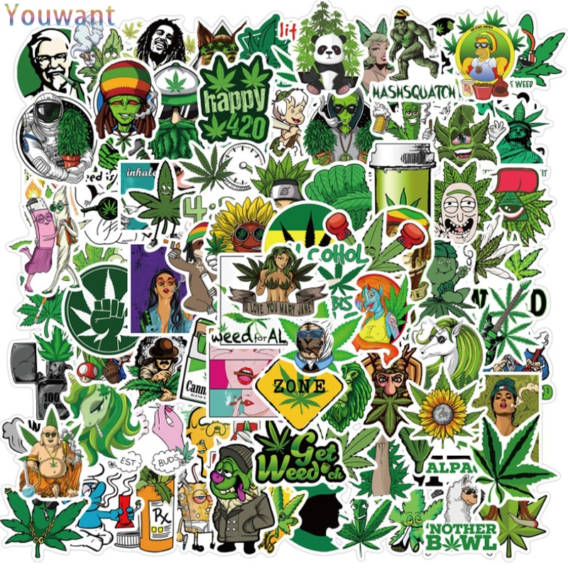 100Pcs Joke Rock Hip-Hop Character Leaves Graffiti Stickers Kid Classic Toy Travel Luggage Guitar Wa