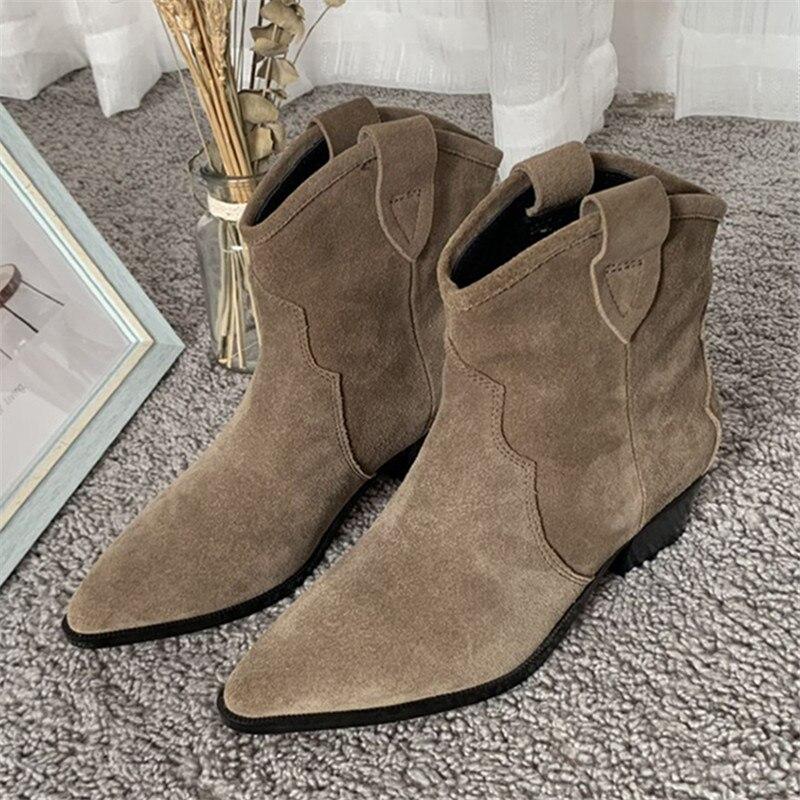 بوت نسائي من جلد الغزال بكعب عالٍ ، جزمة تشيلسي غير رسمية بدون أربطة ، أحذية بمقدمة مدببة