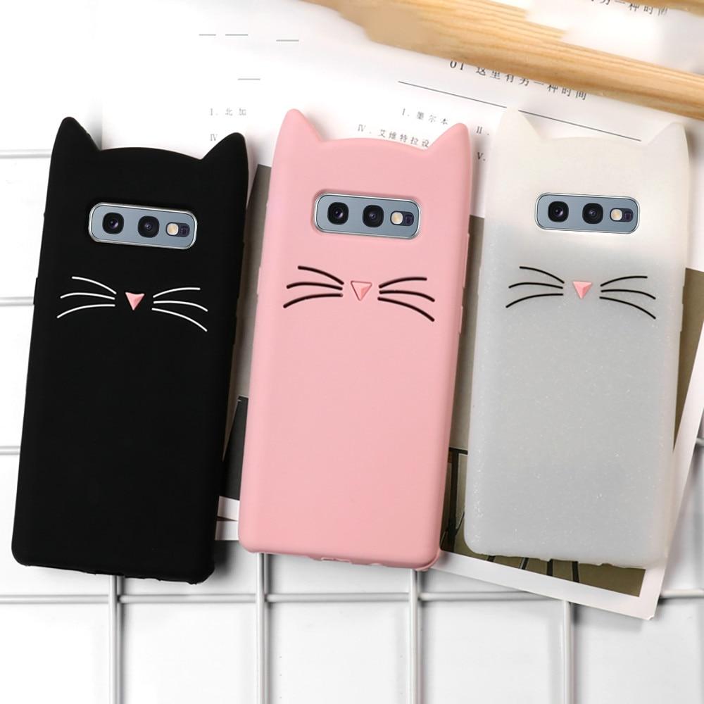 LAPOPNUT Phone Case for Samsung Galaxy S10e S10 S9 S8 Plus S7 Edge Cute 3D Cartoon Animal Cat Ear Soft Silicone Cover Coque Capa