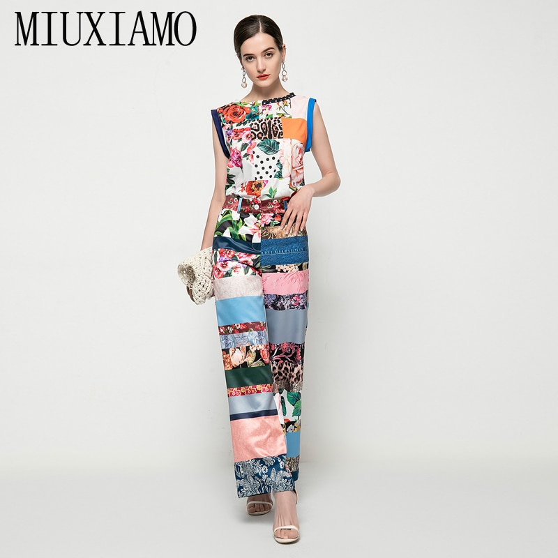 MIUXIMAO-طقم نسائي من قطعتين ، سترة غير رسمية ، سترة علوية فضفاضة ، بنطلون عتيق ، مرقع ، صيف 2021